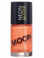 Smalto arancione con brillantini fosforescenti della marca Moonglow© 15 ml