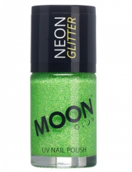 Smalto verde con brillantini fosforescenti della marca Moonglow© 15 ml