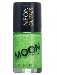 Smalto verde con brillantini fosforescenti della marca Moonglow© 15 ml