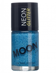 Smalto blu con brillantini fosforescenti marca  Moonglow©