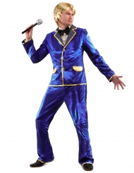 Costume disco brillante blu per uomo