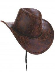 Cappello da Cowboy marrone imitazione cuoio per adulto