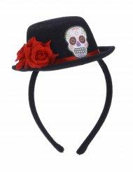 Cerchietto con mini cappello Dia de los muertos per adulto