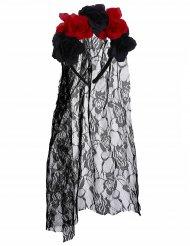 Cerchietto a fiori rossi neri con velo