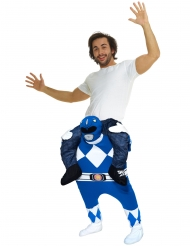 Costume Carry Me uomo sulle spalle di un Power Rangers™ Blu per adulto Morphsuits
