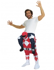Costume Carry Me uomo sulle spalle di un Power Rangers™ Rosso per adulto Morphsuits