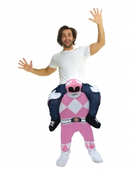 Costume Carry Me uomo sulle spalle di un Power Rangers™ Rosa per adulto Morphsuits