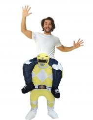 Costume Carry Me uomo sulle spalle di un Power Rangers™ giallo per adulto Morphsuits