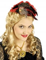 Mini cappello rosso da pirata per donna