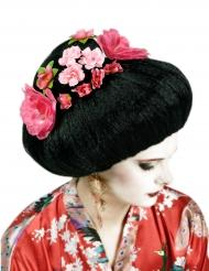 Parrucca cinese capelli neri a fiori rosa per adulto