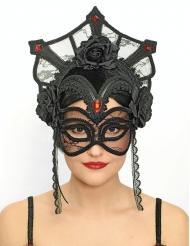 maschera lusso nera in pieeo Dia de los muertos