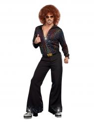 Camicia disco deluxe con paillettes multicolore per uomo