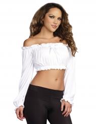 Top bianco a maniche lunghe per donna