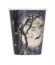 8 bicchieri in cartone chiaro di luna halloween
