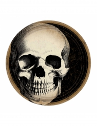 10 Piatti in cartone con teschio Halloween 23 cm