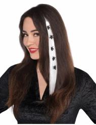 Ciocca bianca a clip con ragni per capelli halloween