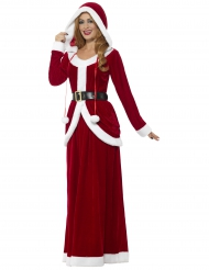 Costume lungo con cappuccio da Mamma Natale deluxe