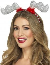 Cerchietto da renna con brillantini argentati per adulto Natale
