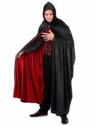 Mantello nero e rosso in velluto reversibile lusso adulto