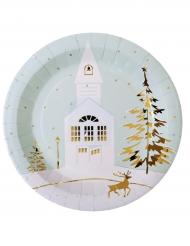 10 Piatti villaggio di Natale in cartone
