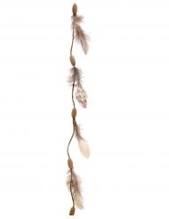 Ghirlanda piume e legno 116 cm