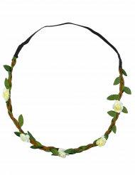 Corona di fiori bianchi elastica per adulto
