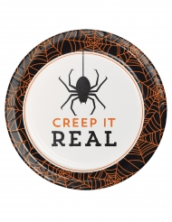 8 Piattini di cartoni Creep it real 18 cm Halloween