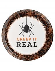 8 Piattini di cartoni Creep it real 18 cm Halloween