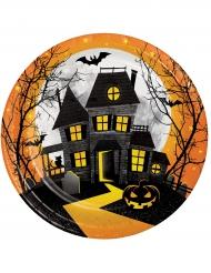 8 piatti in cartone castello stregato Halloween