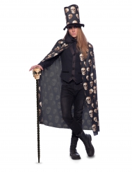 Mantello e cappello a cilindro con teschi per adulto Halloween