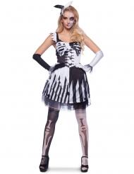 Costume da clown scheletro nero e bianco per donna