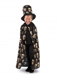 Mantello e cappello a cilindro con teschio per bambino