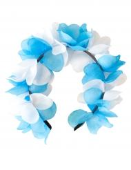 Cerchietto con fiori bianchi e blu