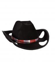 Cappello da cowboy porta bicchieri nero