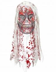 Maschera  teschio zombi con capelli  ricoperta di sangue