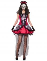Costume da scheletro multicolore per donna dia de los muertos