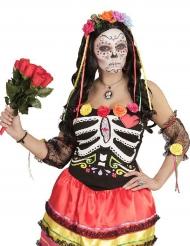 Cerchietto a fiori colorati e nastri Dia de los muertos per donna