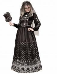 Costume da scheletro gotico nero per donna halloween