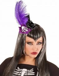 Mini cappello nero e viola Dia de los muertos per adulti