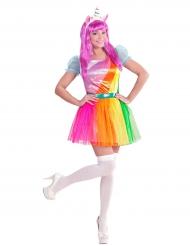 Costume da magico unicorno arcobaleno per donna