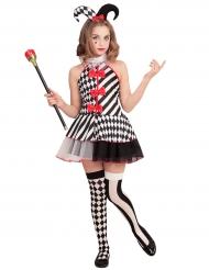 Costume da giullare bianco e nero per bambina