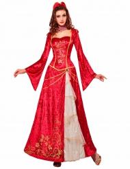 Costume da principessa del rinascimento in rosso per donna!