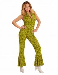 Costume tuta retro verde anni 70 per donna