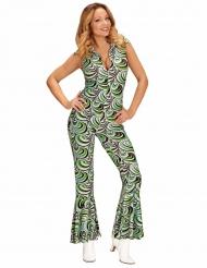 Costume tuta con onde retro anni 70 per donna