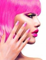 Unghie finte adesive rosa fluo per adulto