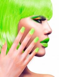 Unghie finte adesive verde fluo per adulto
