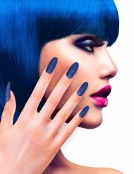 Unghie finte adesive blu con brillantini per adulto