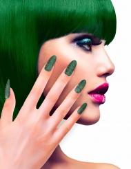 Unghie finte adesive verdi con brillantini per adulto