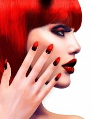 Unghie finte adesive rosse e nere per adulto
