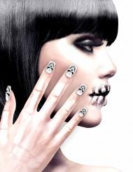Kit unghie finte adesive teschi per adulti